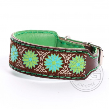 DG collar with ribbon Daisy green S