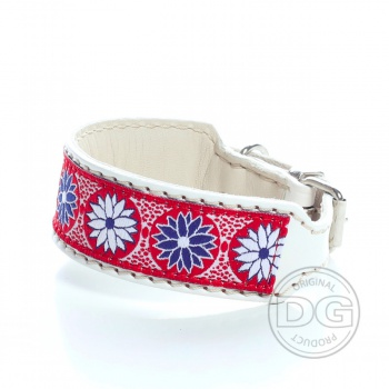 DG collar with ribbon Daisy blue white S