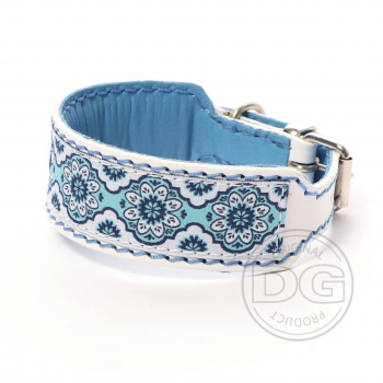 DG collar with ribbon Baroque Blue Floral S